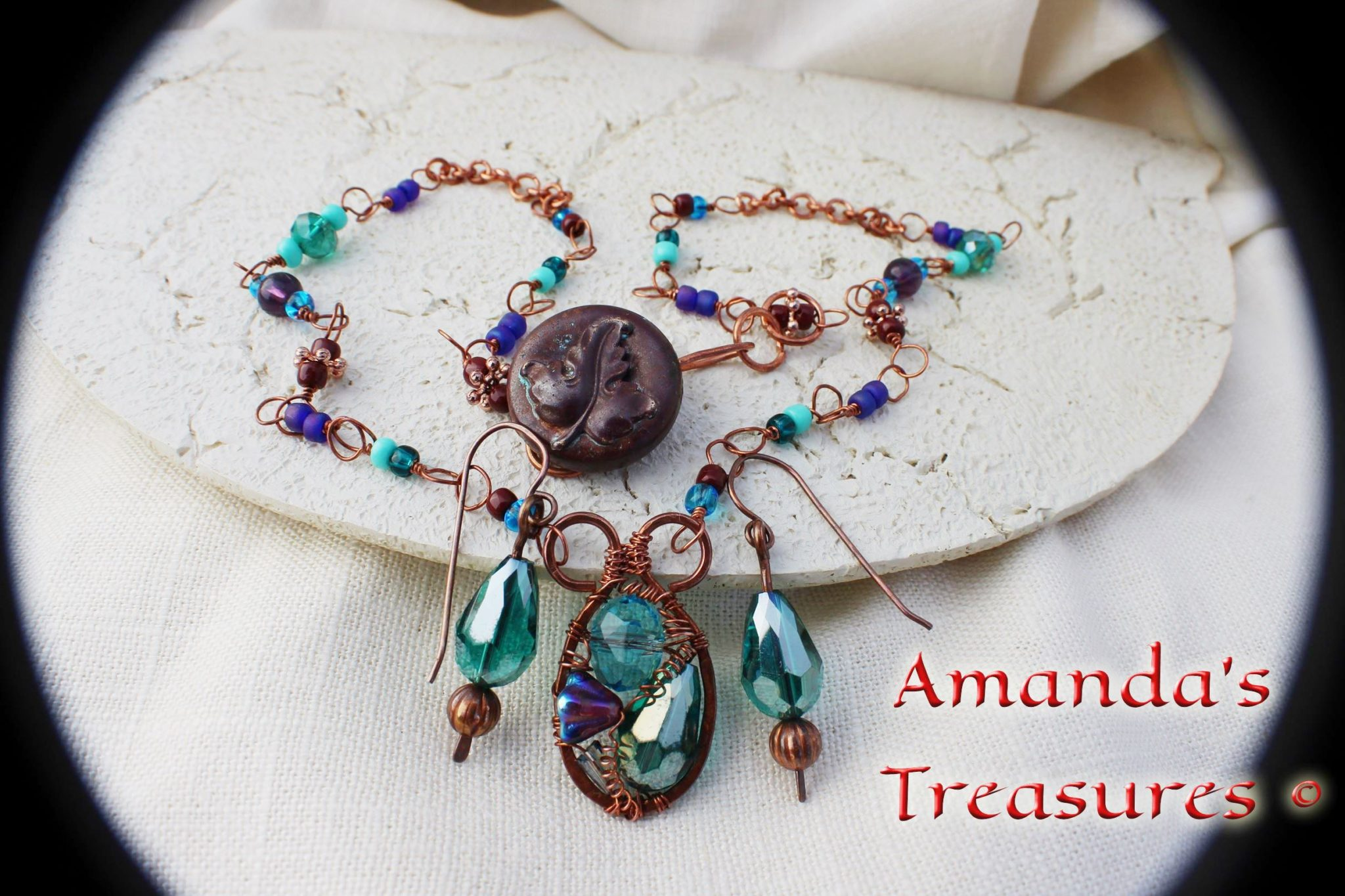 Aqua N Copper Crystal Wire Wrapped Necklace and Earrings