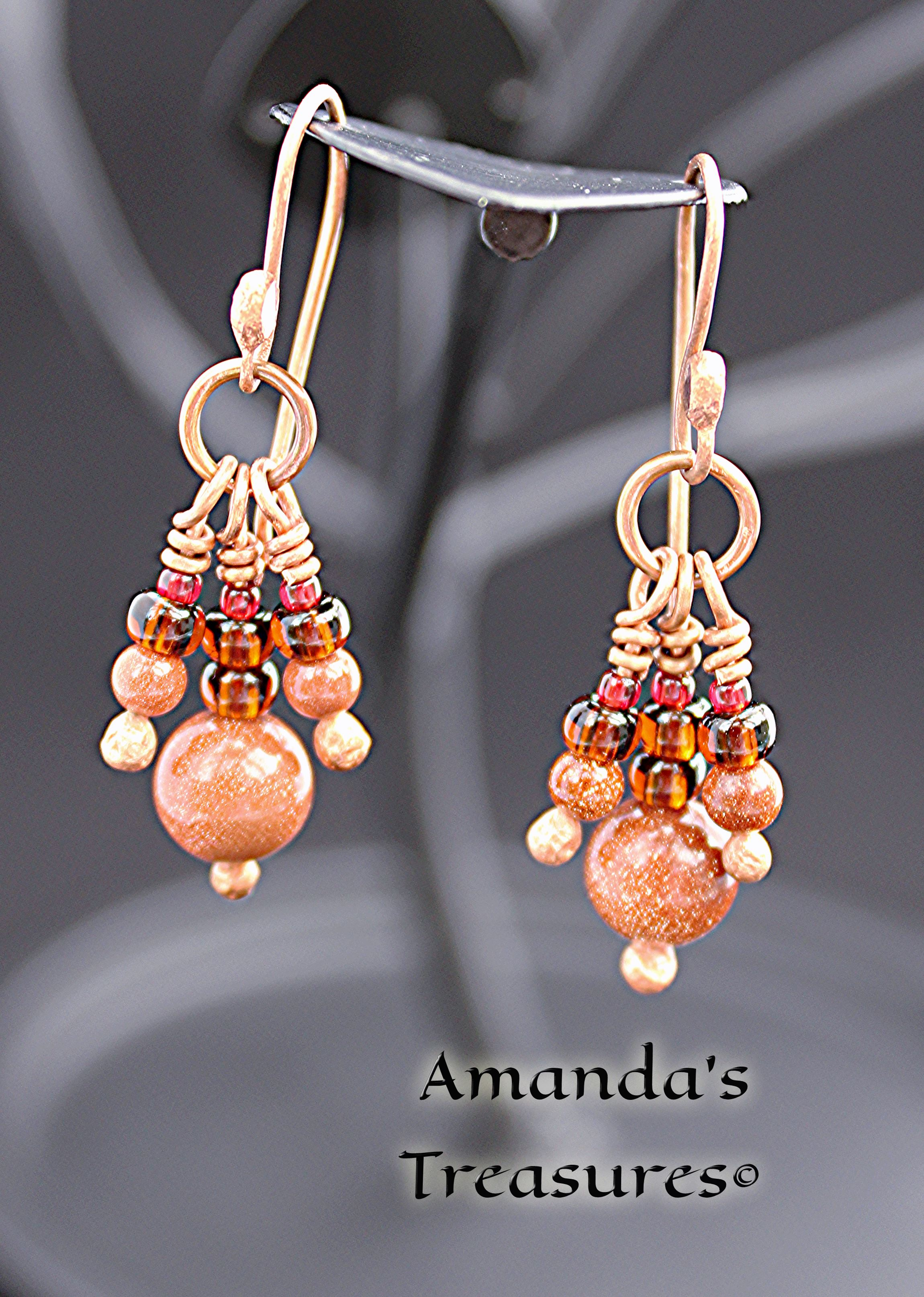 Three Gold-stone Copper Wire Earrings